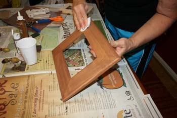 Use a foam brush to apply the paint...on your way to making a twig frame!