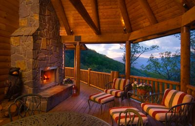 Appalachian Log Structures | Outdoor Fireplace and Porch