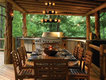 Outdoor Kitchen in Log Home
