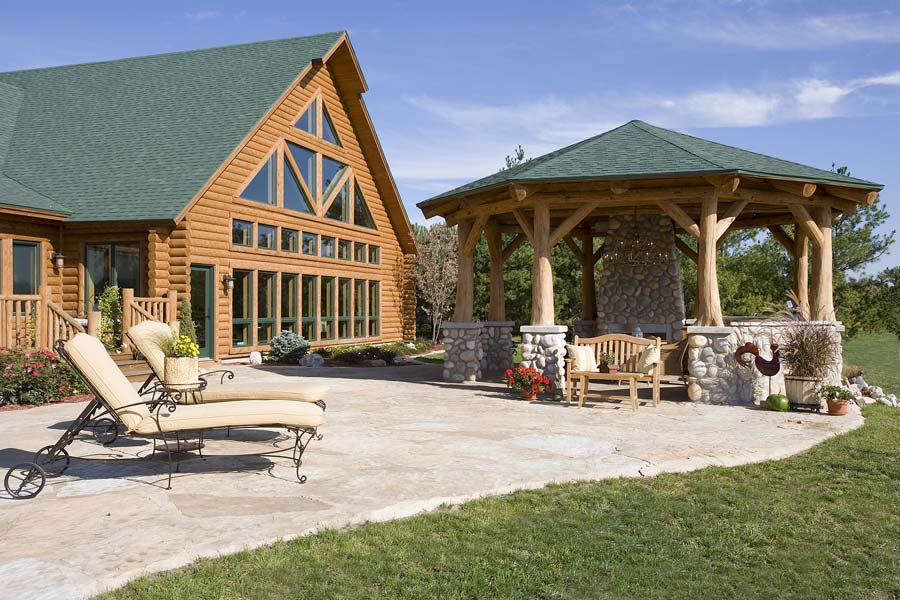 outdoor log patio town and country cedar homes - Patio Town