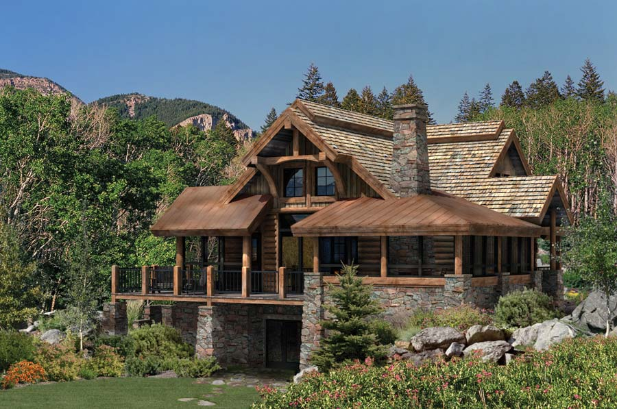 Best outdoor space design the alderbrook Stone and wood house plans