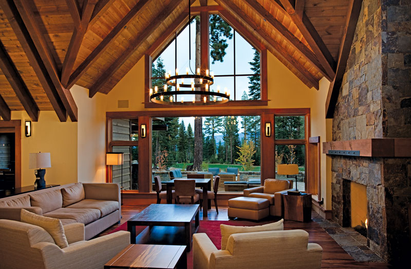 Large Window in Great Room of Mountain Rustic Home