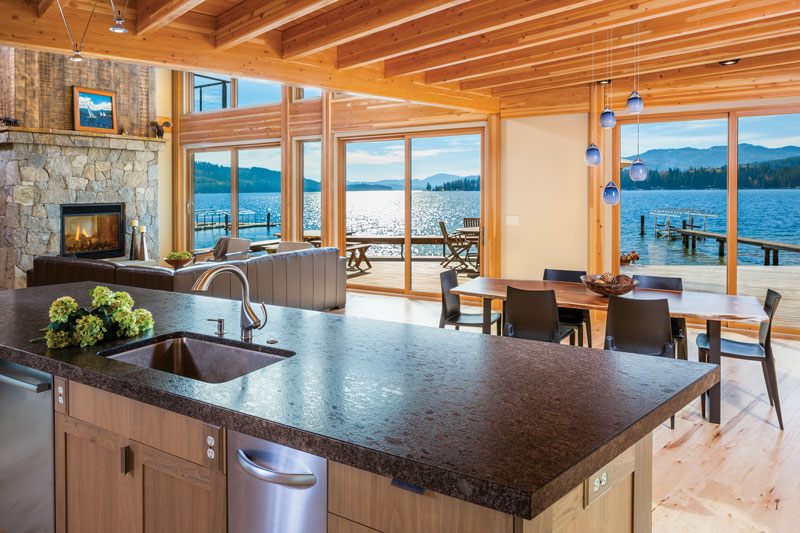 Modern Kitchen in Modern, Waterfront Timber Cabin in Idaho