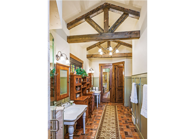 Rustic Bathroom in Idaho Timber Frame Home