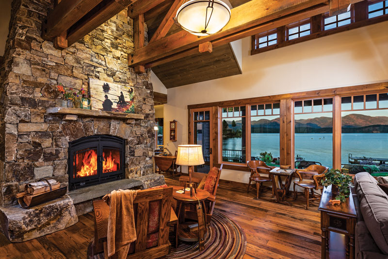 Great Room with Fireplace at Lakeside Idaho Timber Frame Home