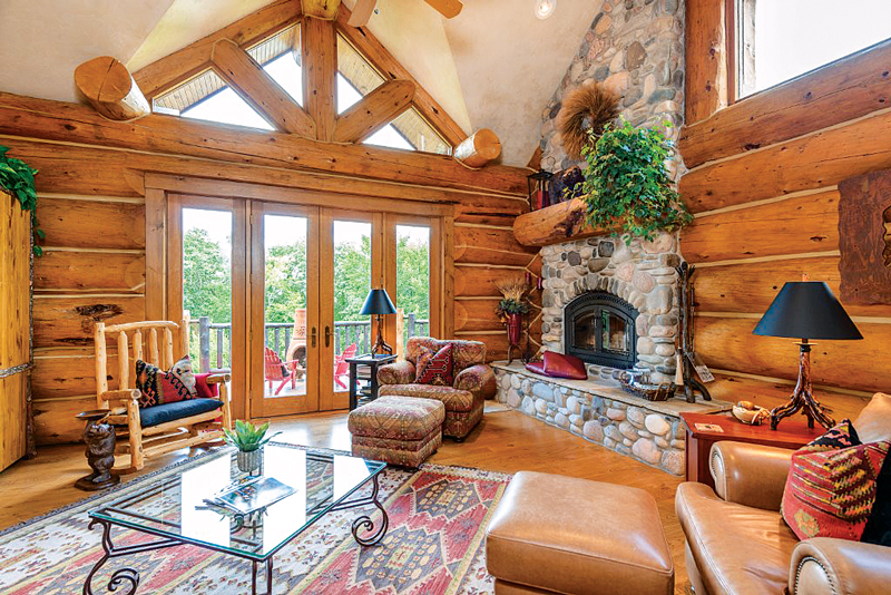 log home living room designs