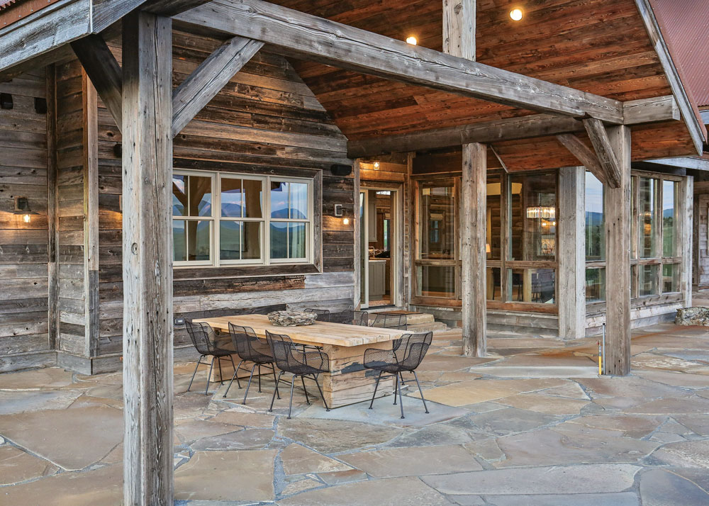 Rustic Porch at Montana Timber Frame Home