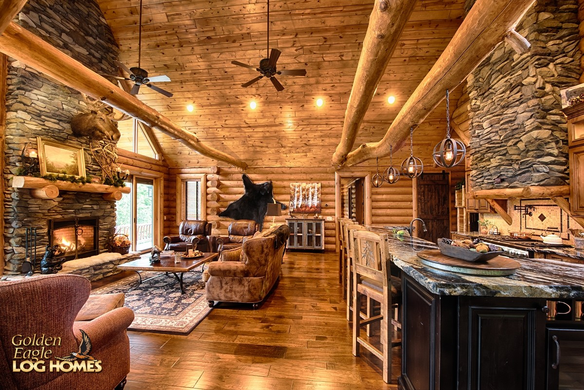South carolina log home floor plan by golden eagle log homes for Log cabin open floor plans