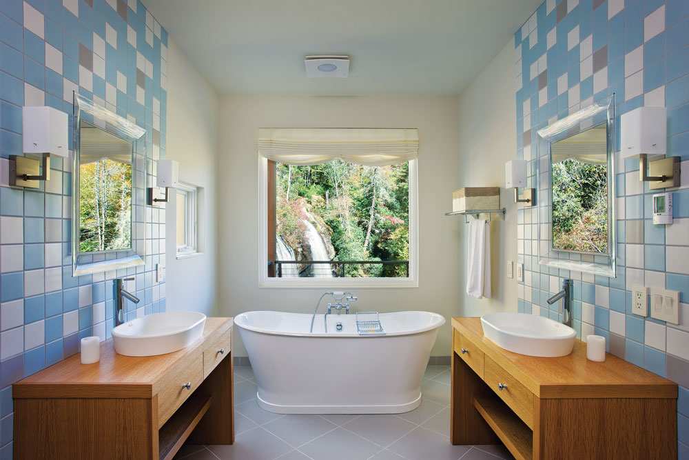 Bathroom With View of Waterfall