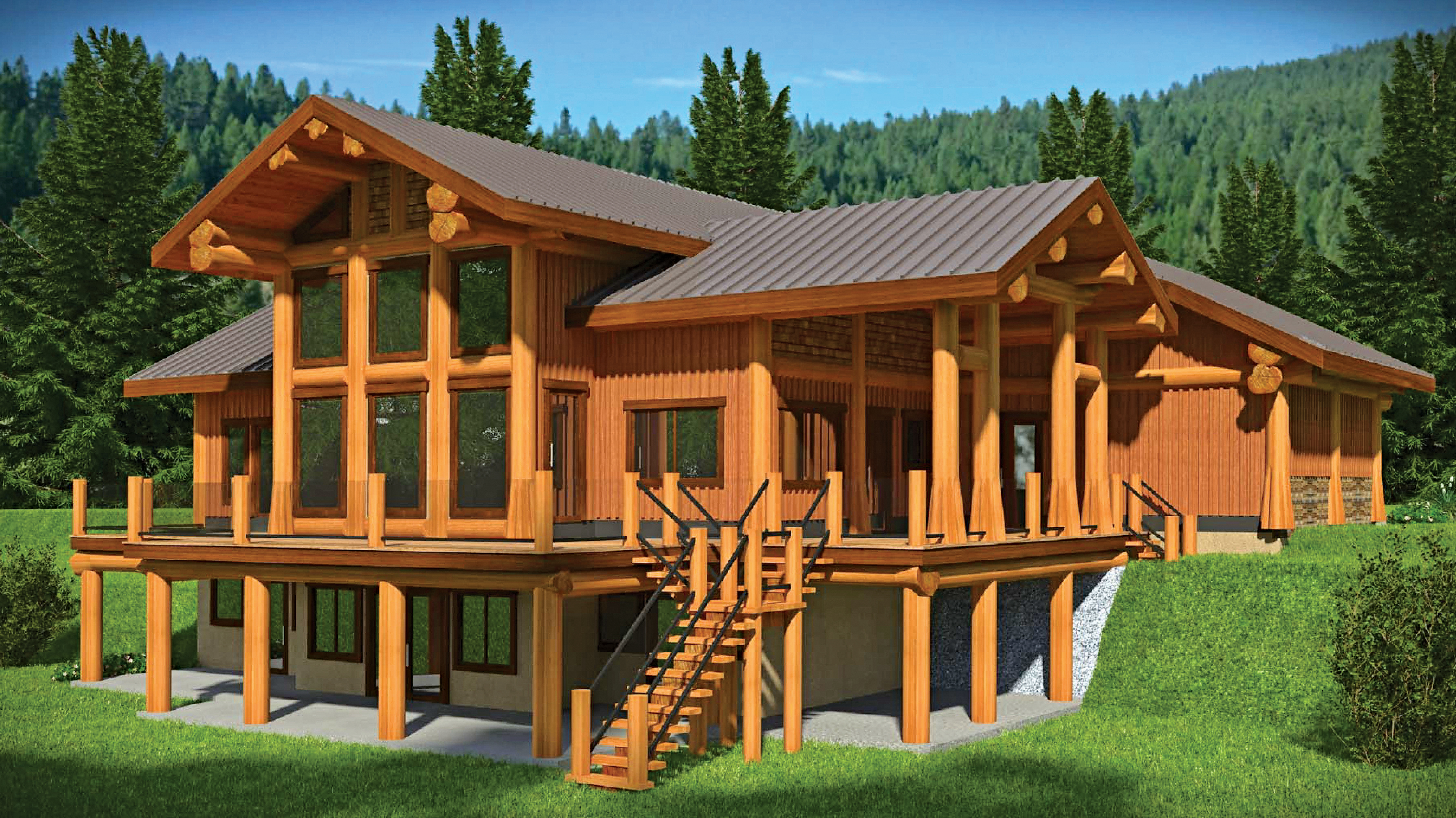 Floor Plan: The British Columbia Log Home with Tons of Outdoor Space