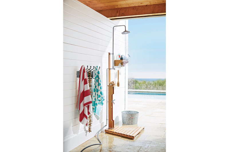 Outdoor Shower at Coastal Timber Home