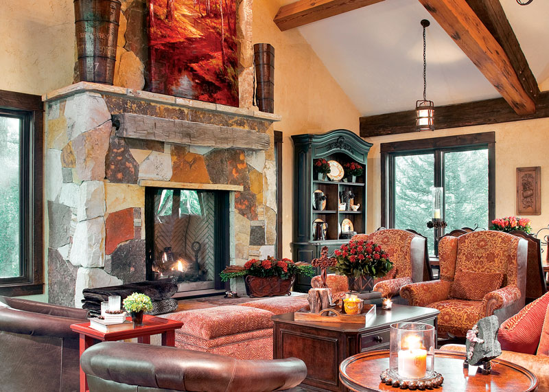 Rustic Mantel in Timber Frame Living Room