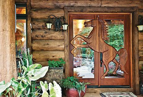 log home door
