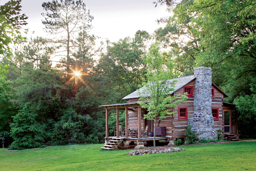 Tiny Antique Guest Log Cabin With Stone Chimney