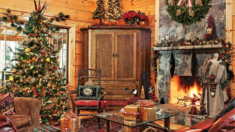 6 Log Homes Decorated for Christmas