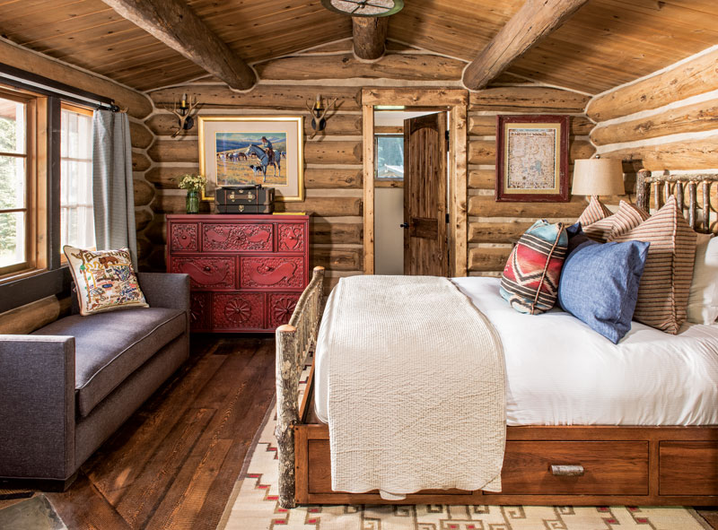 Chipmunk, once the cook's cabin, now serves up comfort and charm, combining old logs and new accents.
