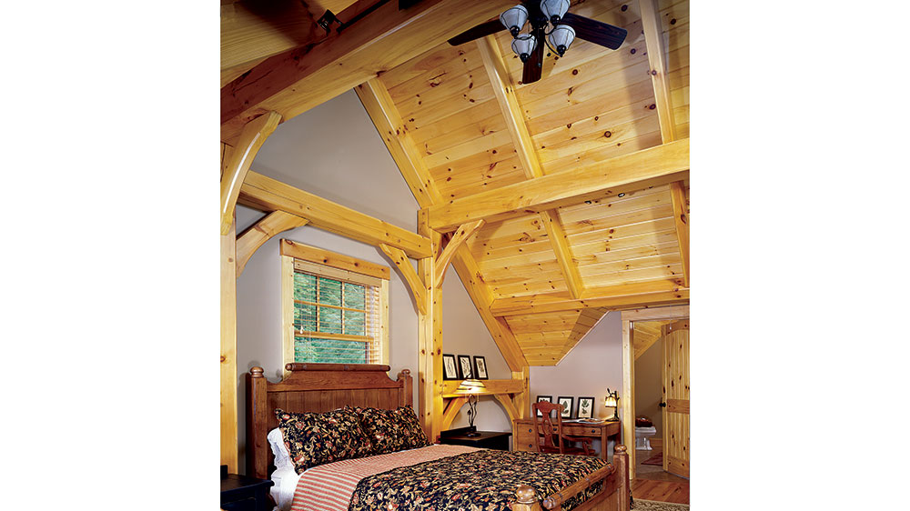timber frame cabin home bedroom mountains