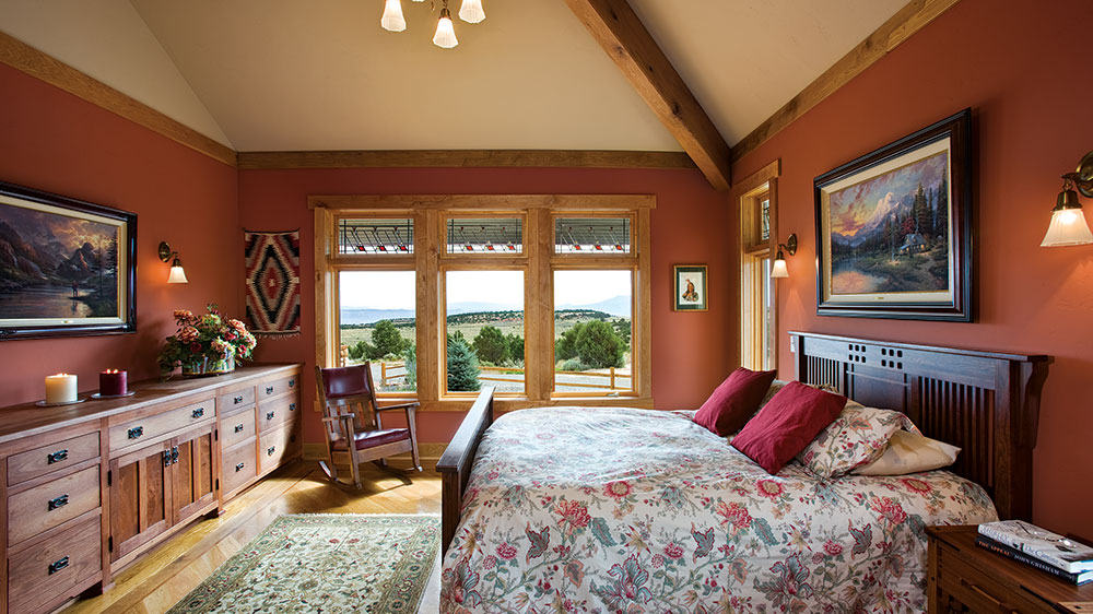 timber frame colorado bedroom