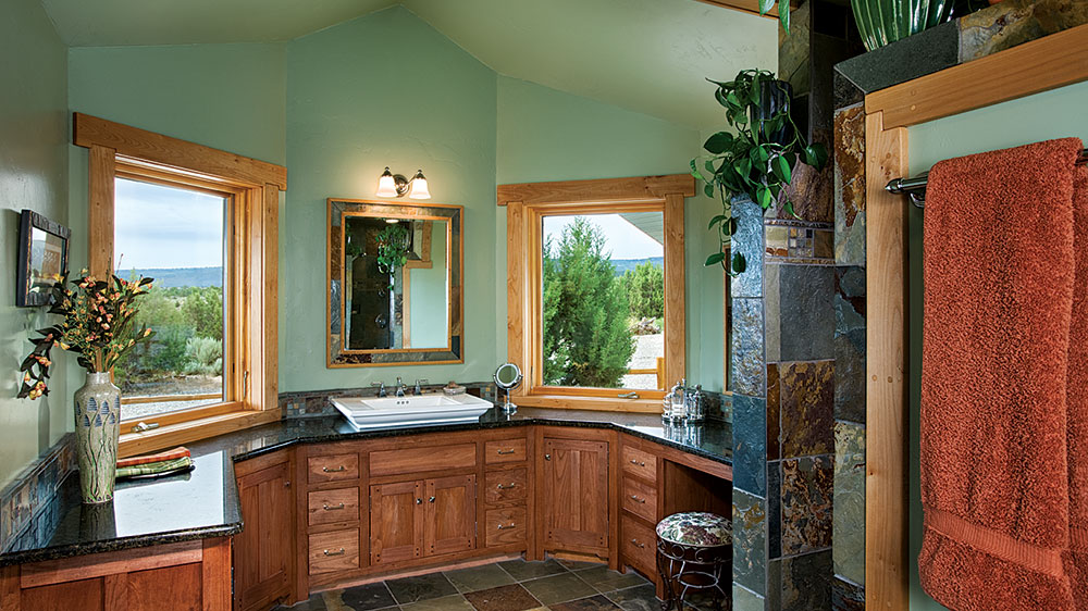 timber frame home bathroom colorado