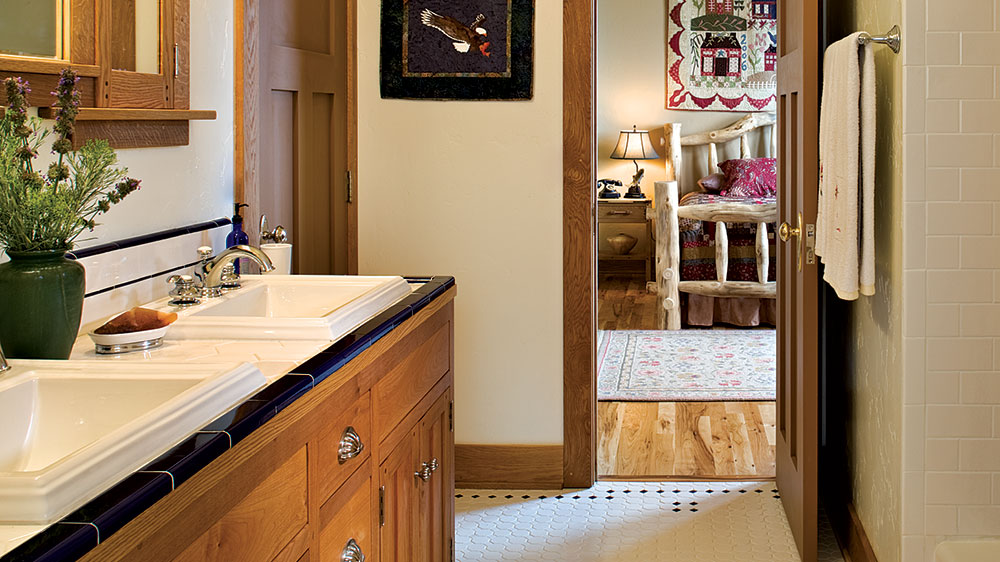 timber frame mountains colorado bathroom