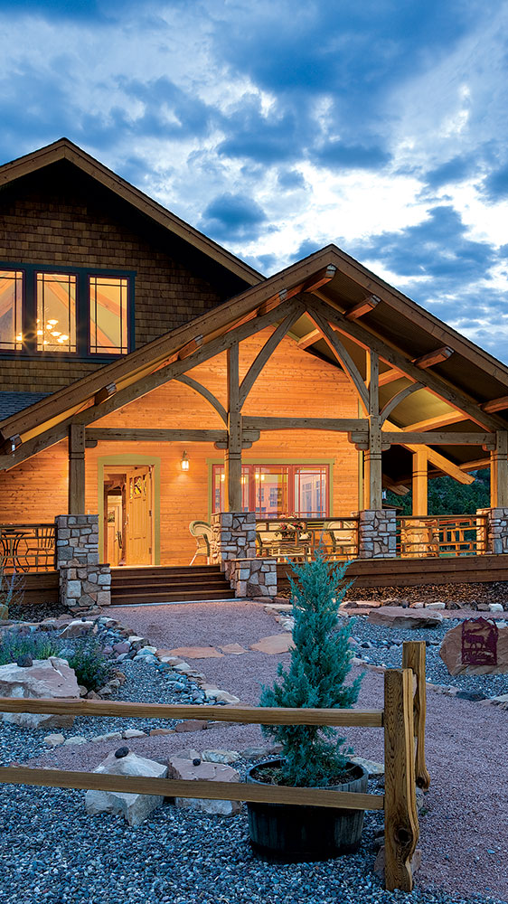 outdoors timber frame home colorado