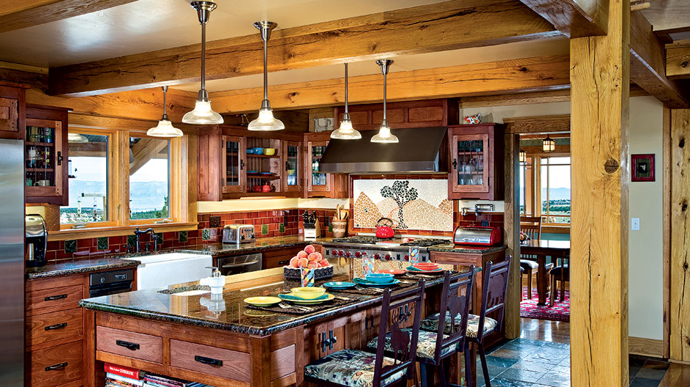 timber frame kitchen rustic mountains