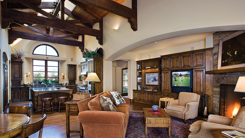 Idaho timber frame living room