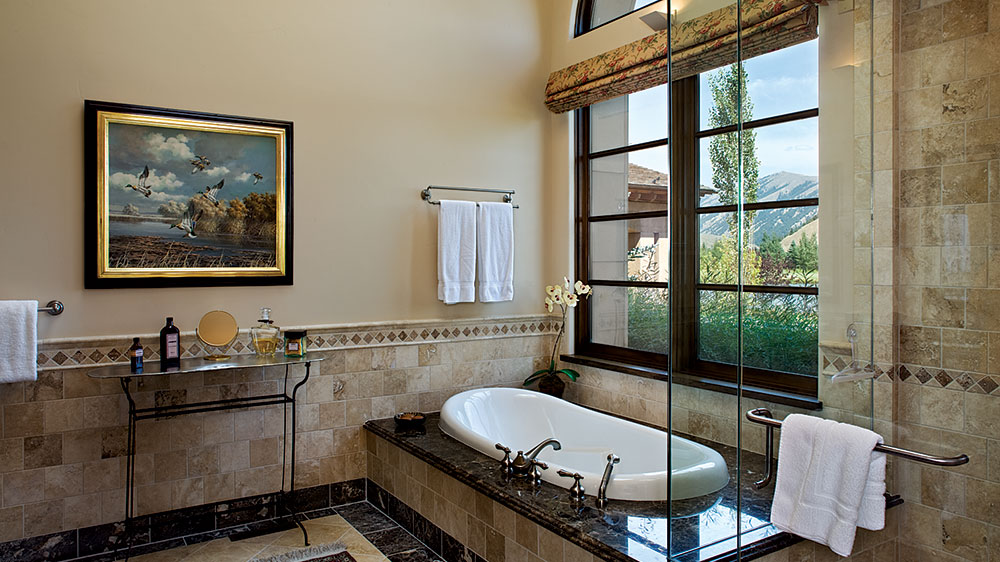 Idaho timber frame bathroom