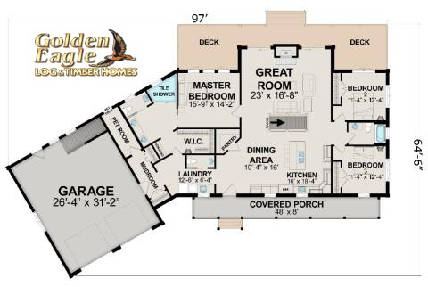Timber Ranch 2286AR-UCT Floor Plan from Golden Eagle Log & Timber Homes