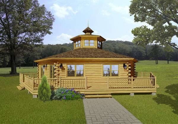 Acadian log home floor plan from katahdin cedar log homes for Cedar cabin floor plans