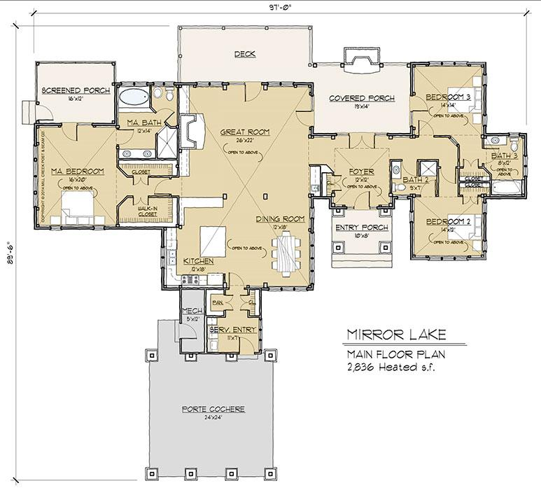 Mirror Lake Timber Floor Plan by Mill Creek Post Beam Company – Secure Home Floor Plans