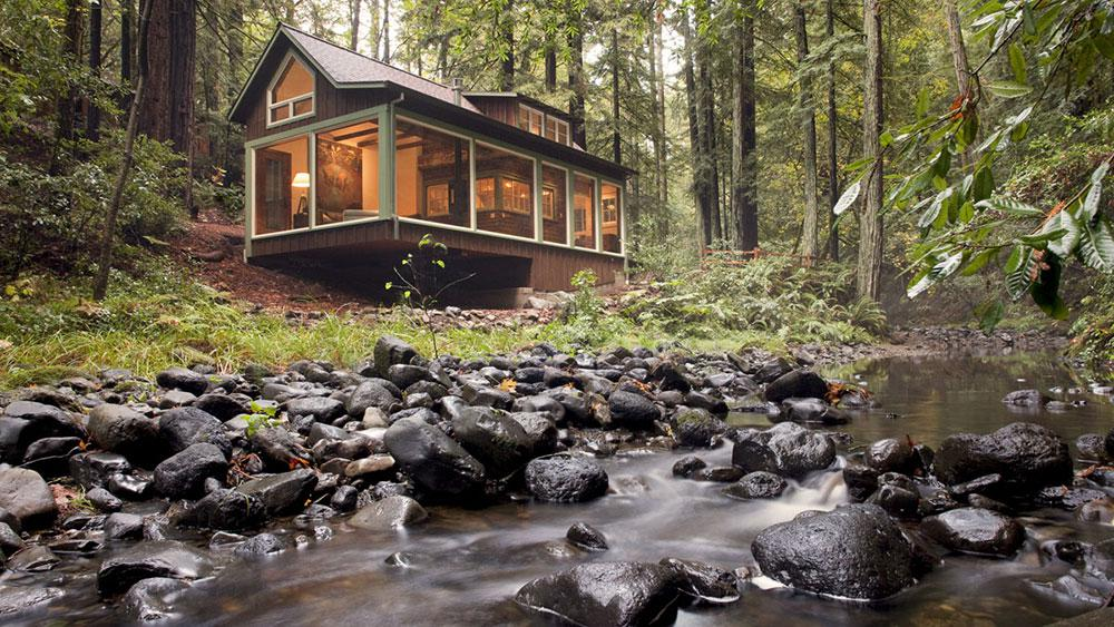 a rustic creekside cabin gets a dramatic update