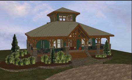 Lookout retreat floor plan by cabin creek timber frames Cabin creek 15