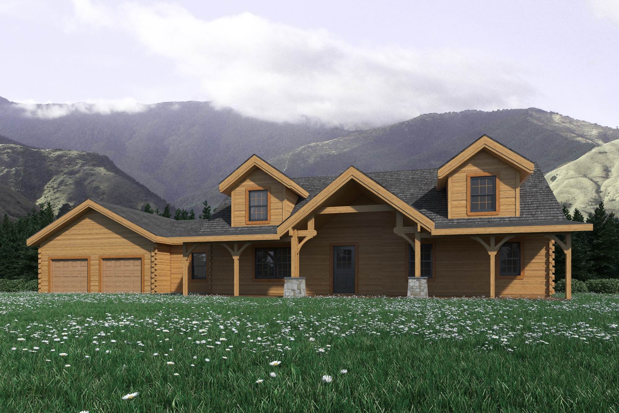 Mountain view home plan by countrymark log homes for Mountain log home plans
