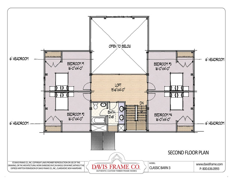 classic barn 3 timber frame floorplan by davis frame company - Timber Frame Barn Home Plans