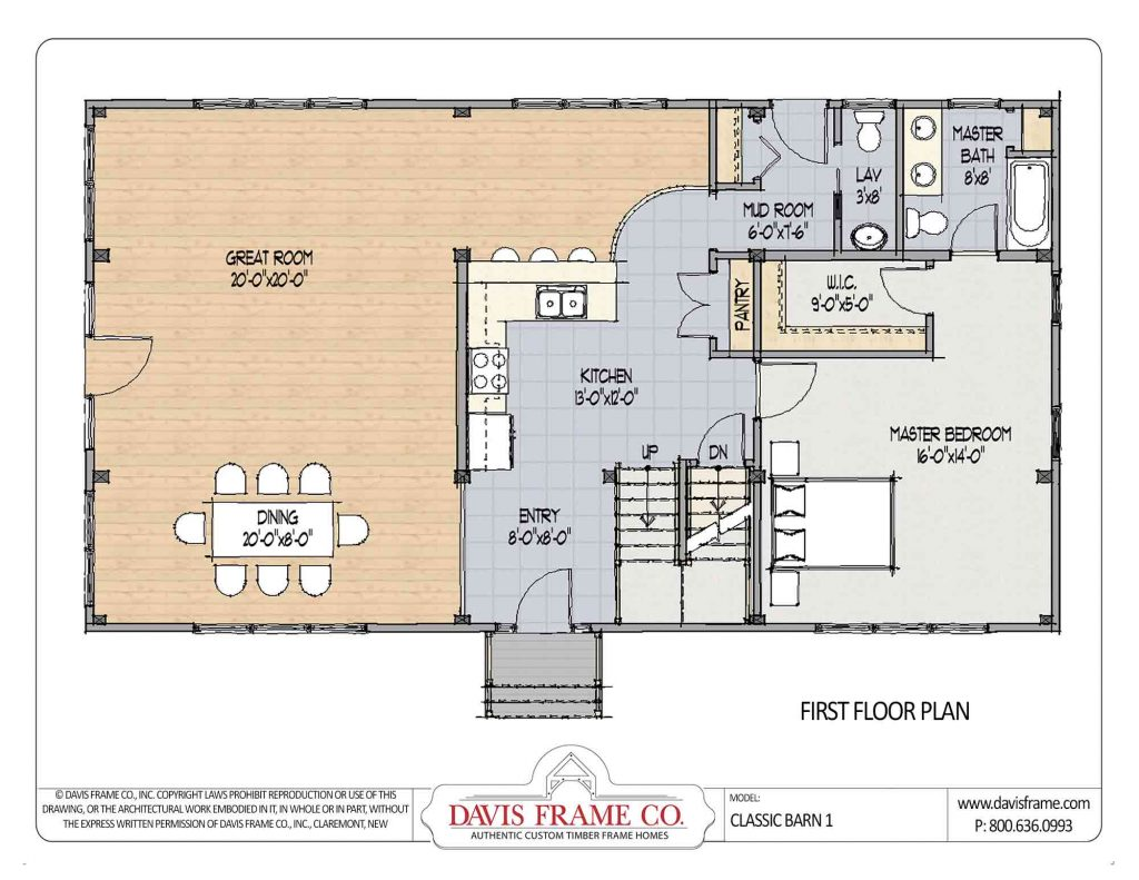 Davis frame company classic barn 1 home plan for Davis homes floor plans