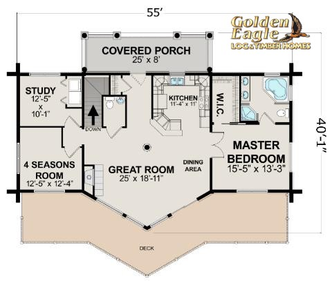 Ski Home Prow Log Home floor plan from Golden Eagle Log & Timber Homes