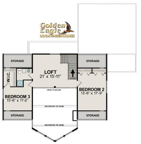 Lodge 2838AL Log Home Floor Plan by Golden Eagle Log Homes