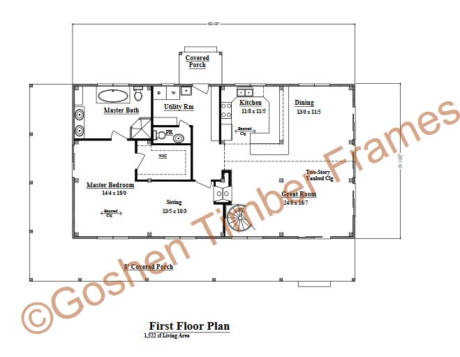 Gentrys Mill Timber Floor Plan by Goshen Timber Frames