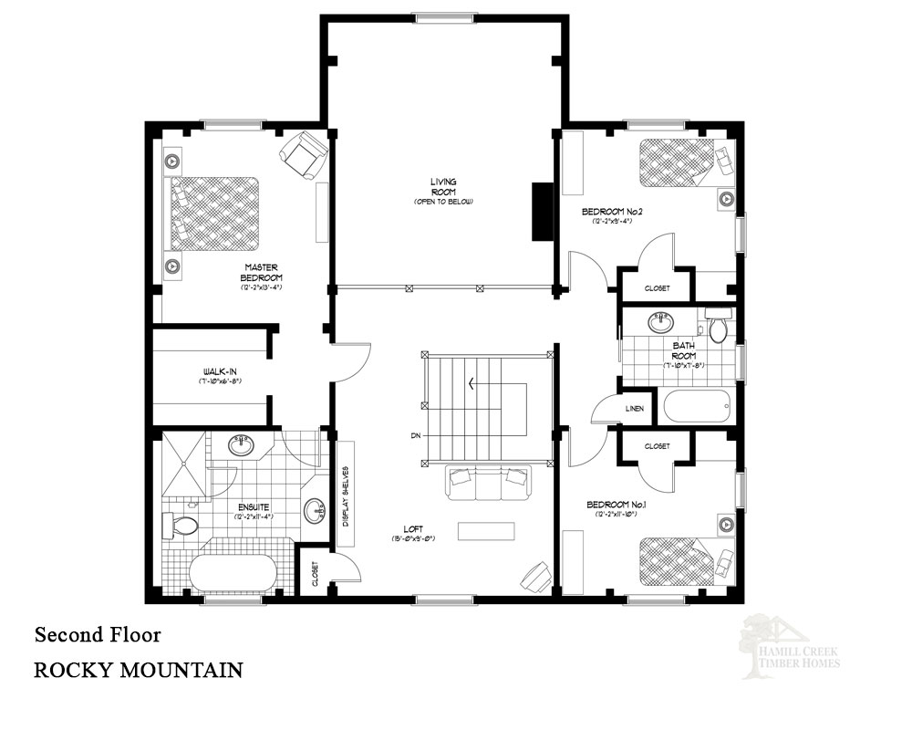 Rocky mountain timber floor plan by hamill creek timber homes for Colorado mountain home plans