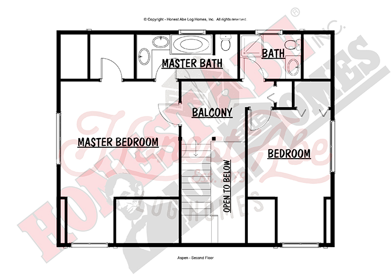Aspen log home floor plan from Honest Abe 2