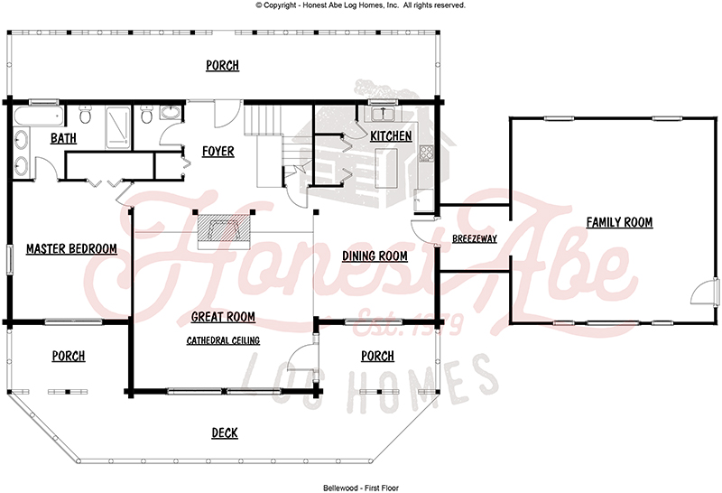 bellewood log home floor plan by honest abe