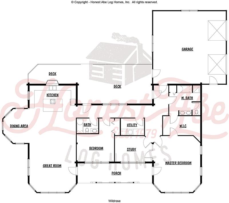 wildrose log home floor plan by Honest Abe