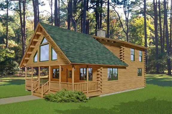 Denali log home plan by katahdin cedar log homes for Cedar cabin floor plans