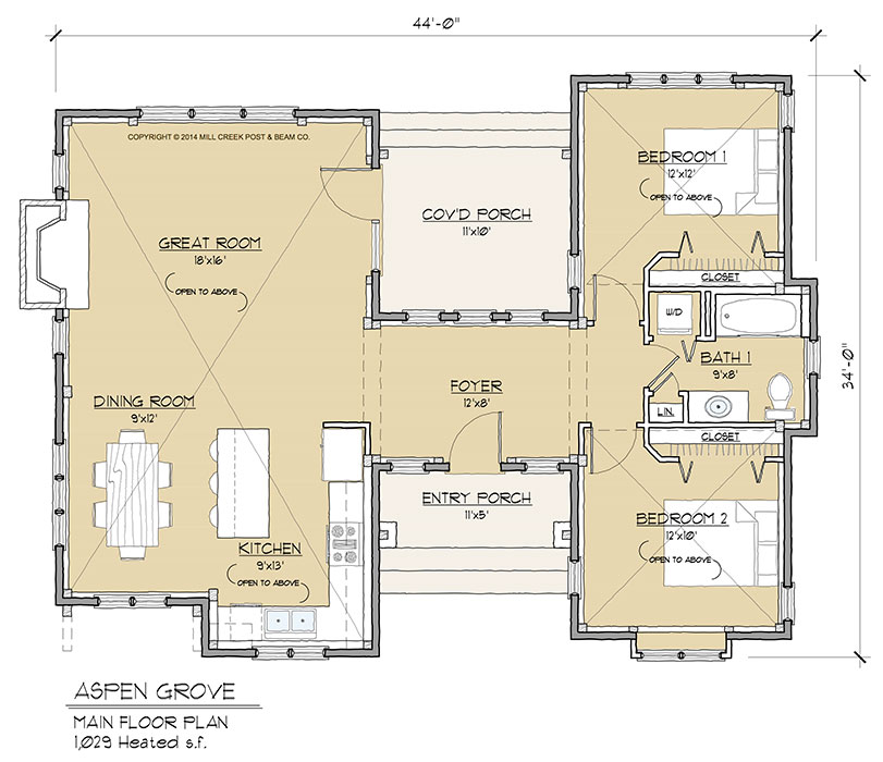 Aspen grove timber floor plan by mill creek post beam for Floor plan companies