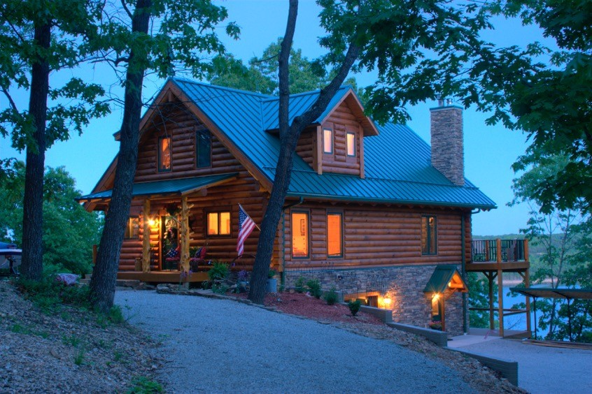 Ozark mountain lake log homes real log homes for Mountain house media