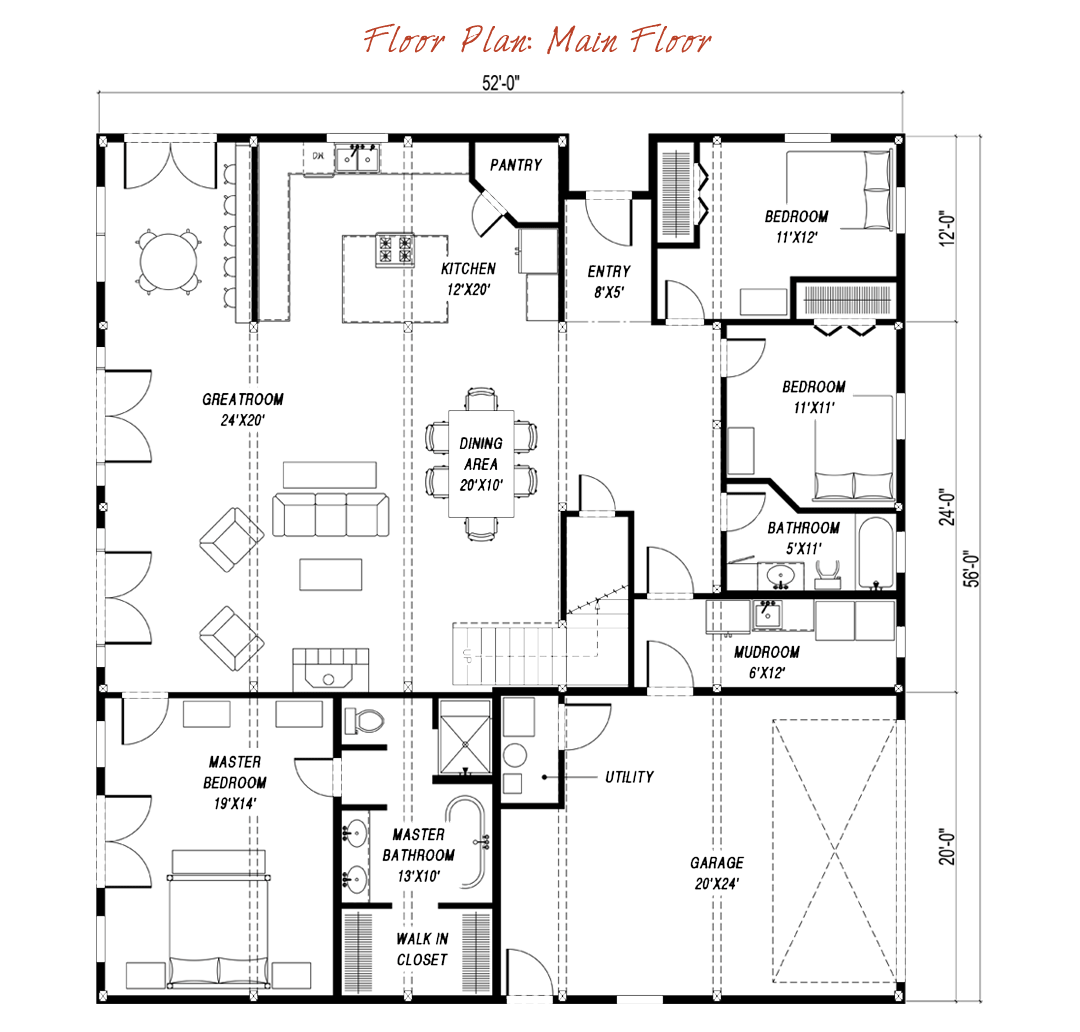 Great plains gambrel floor plan by sand creek post beam for Barn style house floor plans