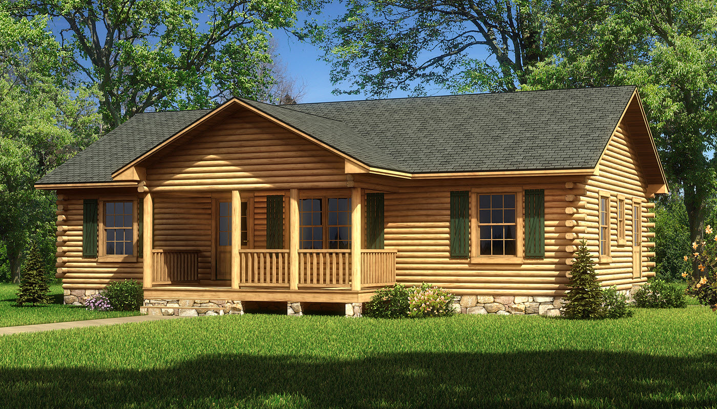 Lafayette log home plan by southland log homes for Log home house plans