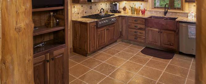 tile flooring log home kitchen
