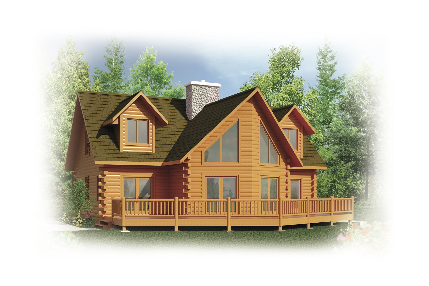 Onaway Log Home Plan By Strongwood Log Timber Company